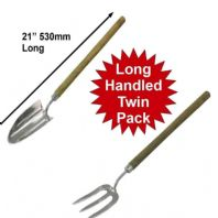 "Stainless Steel Long Handled 21"" 530mm Garden Hand Fork and Trowel Set 82632 3"